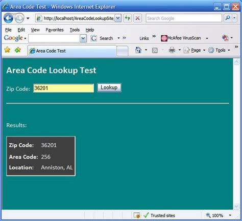 Zip Code Lookup Lookup Area Codes By Zip Codes With An Asp Net Custom Codeproject