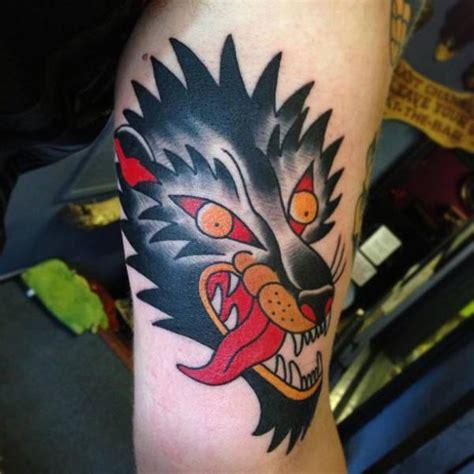 arm old wolf tattoo by north side tattooz