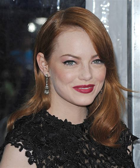 Emma Stone Long Straight Formal Hairstyle   Medium Red