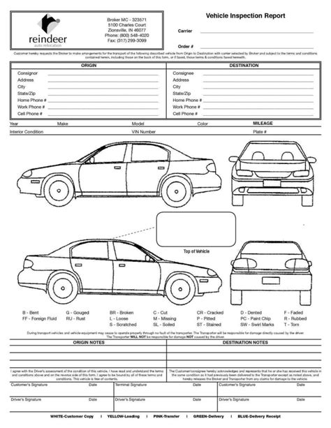 truck condition report template driver vehicle inspection report template and vehicle