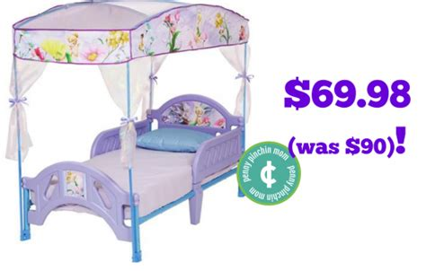 tinkerbell toddler bed disney tinkerbell fairies toddler bed with canopy only 65 98 free shipping reg 90