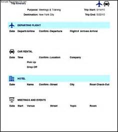 Travel Itinerary Template Excel by Trip Itinerary Template Excel Sle Templates