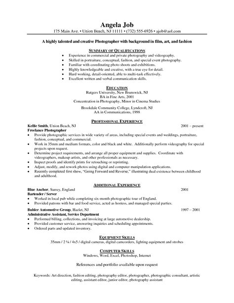 resume sles for photographers sle photographer resume freelance photographer resume