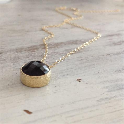 gold necklace black onyx necklace black necklace moth