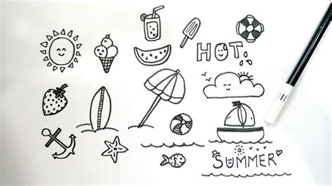 how to do doodle summer inspired doodles for your bullet journal doodle