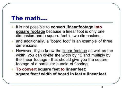 how to calculate dimensions from square feet calculating board feet linear feet square feet ppt download