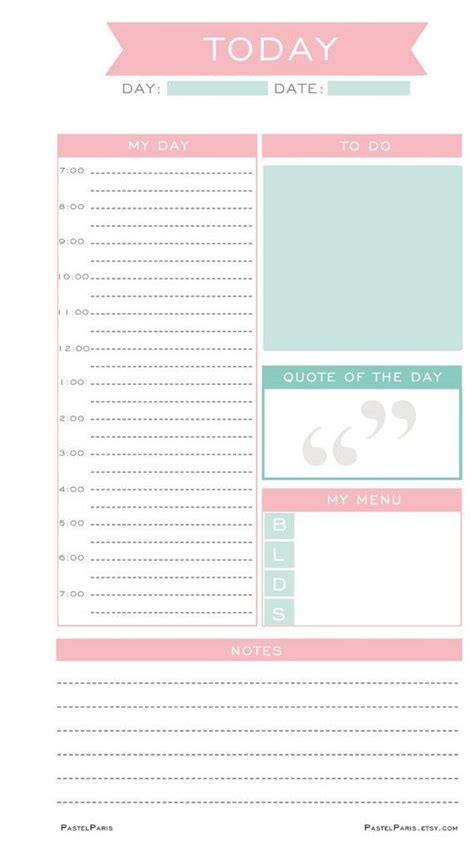 printable planner personal daily planner insert printable personal pastelparis