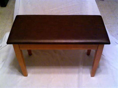 vinyl bench top piano bench light oak brown vinyl top reverb