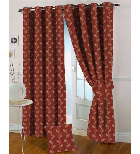 maroon curtains presto maroon colour floral jacquard window curtain 5 ft