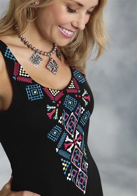 roper 174 s black aztec embroidered western tank dress