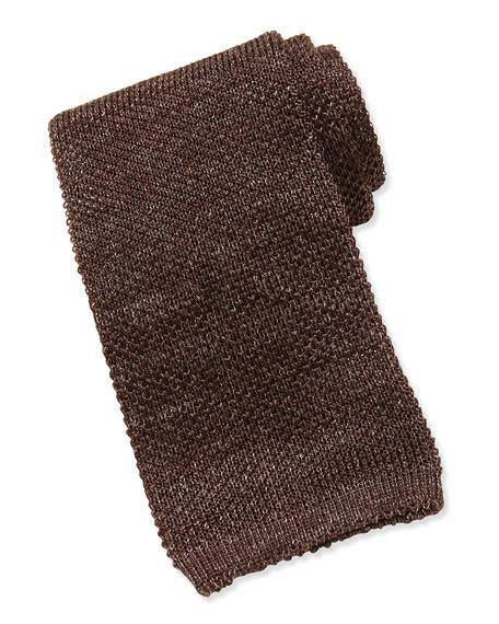 brown knit tie isaia wool silk knit tie brown