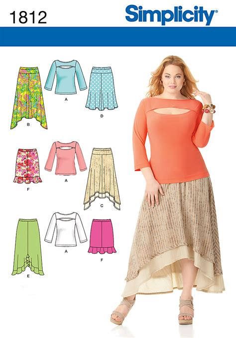 pattern review simplicity 2255 simplicity 1812 misses plus size skirts and knit top