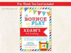 brawny stripes bounce house boys birthday invitations it up birthday digital or