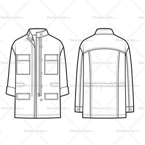 design a jacket online free casual utility parka flat template illustrator stuff
