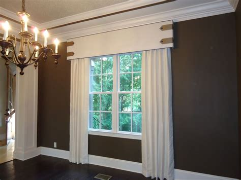 stationary drapery panels custom cornice board with contrast piping tab and button