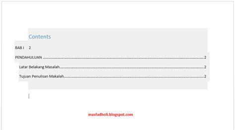 membuat daftar isi otomatis rapi  microsoft word