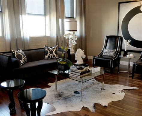 cowhide rug living room ideas bright black sofa fashion other metro contemporary living