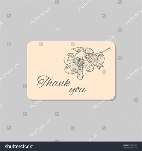 thank you card template with logo thank you card hawaii hibiscus flower stock vector