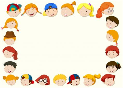 Border Template With Happy Children Face Vector Free Download Templates For Children