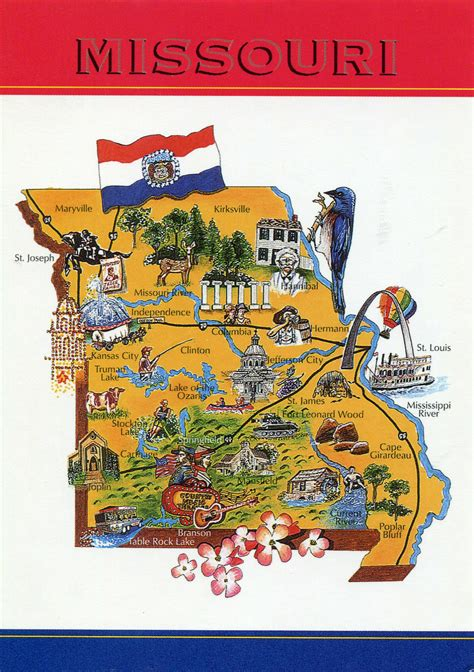 missouri attractions map large tourist illustrated map of missouri state missouri