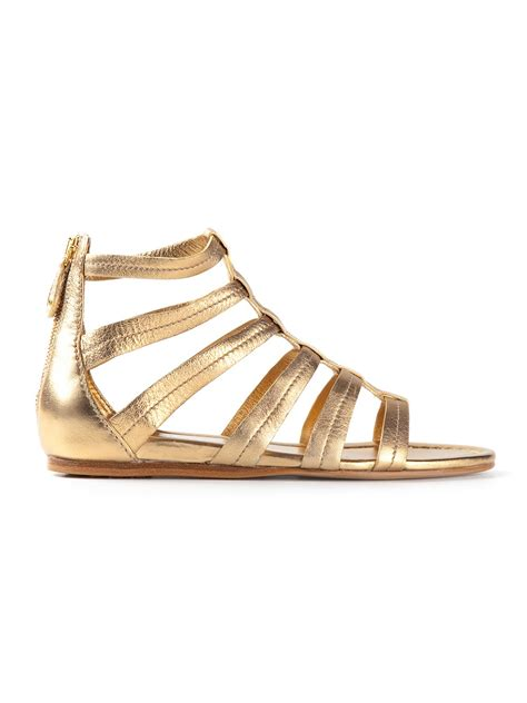 gladiator shoes car shoe gladiator sandal in gold metallic lyst