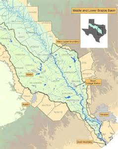 map of brazos river in middle and lower brazos instream flow studies