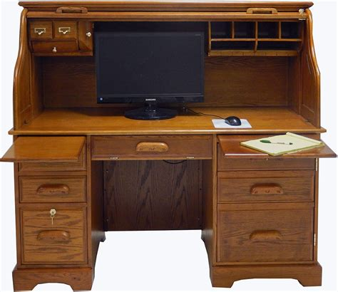 Top Computer Desk by Oak Roll Top Computer Desk In Stock