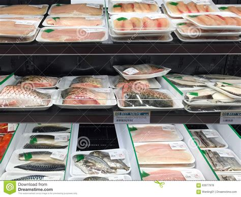 Seafood Shelf by Seafood At Shelves Selling Editorial Stock Photo Image