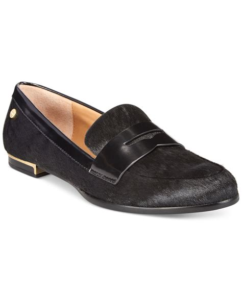calvin klien loafers calvin klein celia loafers in black black haircalf lyst