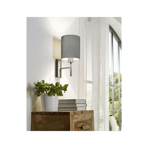 eglo pasteri wall light this is a 1 light wall light complete with a matt grey shade