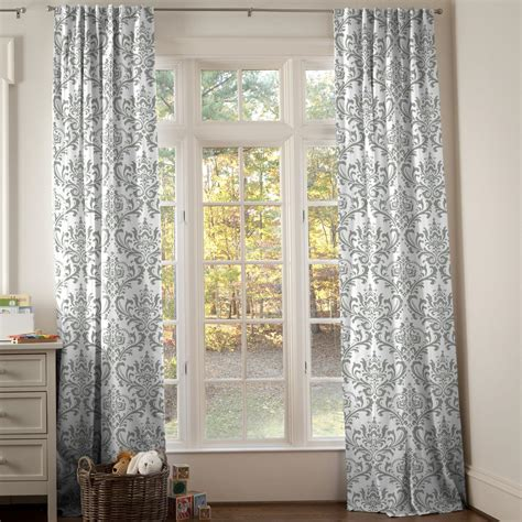 Curtains 64 Inch Length Gray Traditions Damask Drape Panel Carousel Designs