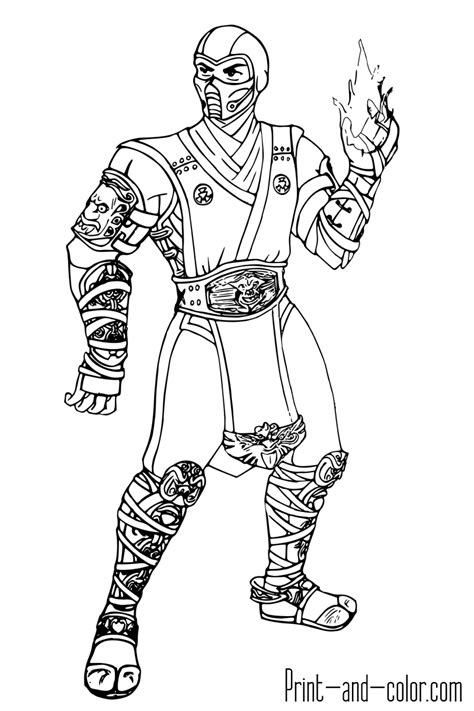 mortal kombat coloring pages print and color com