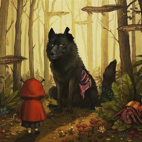 the big bad wolf 0755300211 red riding hood meets the big bad wolf art print 奥 mysterious