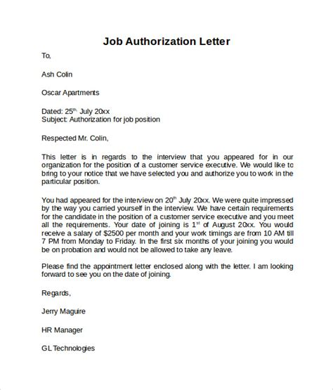 employment authorization letter template sle letter of authorization 9 free documents in pdf