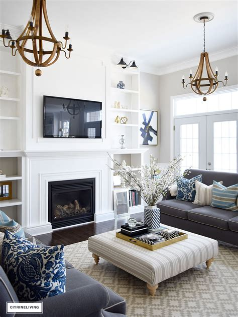 Grey Living Room With White Fireplace Decorating With Fresh And Faux Florals Modern