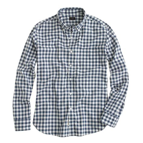 Gingham Shirt j crew secret wash shirt in faded gingham in blue for