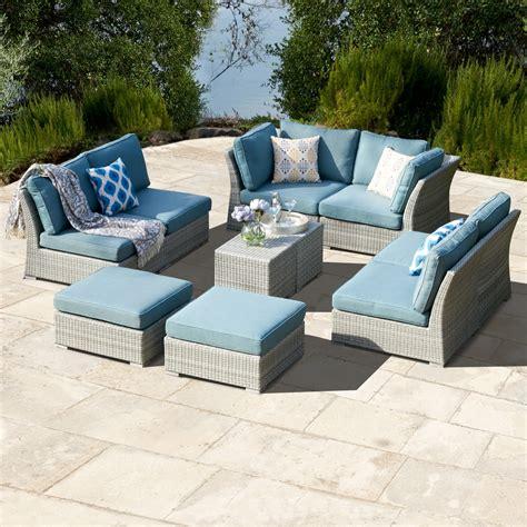 corvus  piece grey wicker patio furniture set  blue