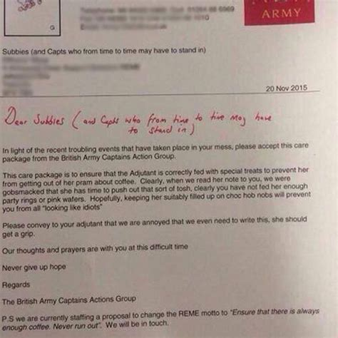 up letter with britain army captain goes on 400 word rant about to wait