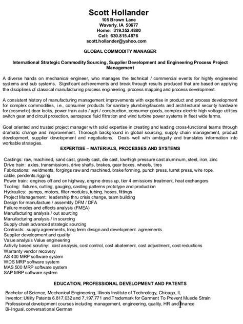 Hollander resume international strategic sourcing supplier
