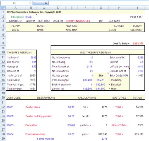 how to estimate building costs house construction house construction excel spreadsheet
