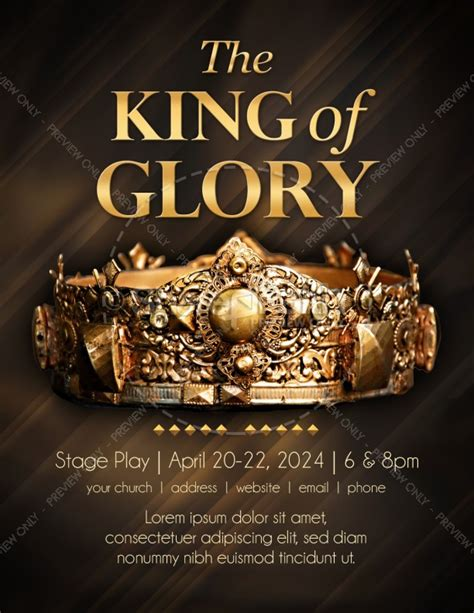 King Of Glory Easter Flyer Template Flyer Templates Play Flyer Template