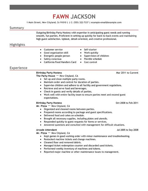 Resume Example Restaurant by Birthday Party Host Resume Examples Media