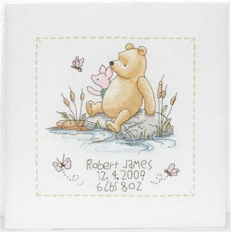Winnie The Pooh Cross Stitch Birth Record Crafts Birth Slers