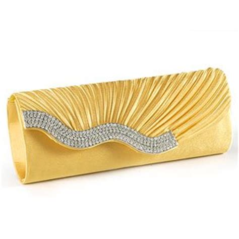yellow gold satin wavy diamante evening clutch bag