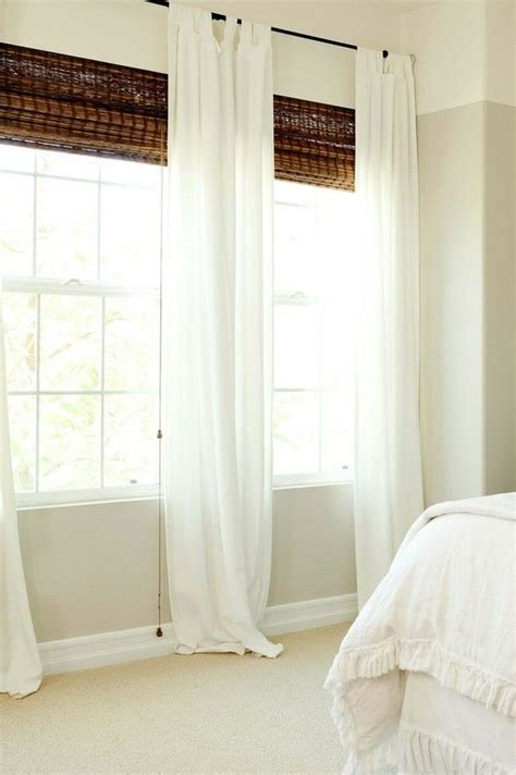 White Curtains With Bamboo Blinds Decorating Ideas