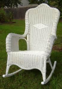 Vintage white wicker rocking chair by seasidefurnitureshop on etsy