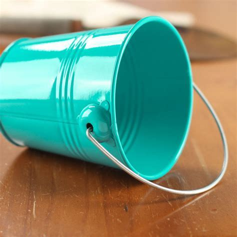 Turquoise Metal Pail   Baskets, Buckets, & Boxes   Home Decor