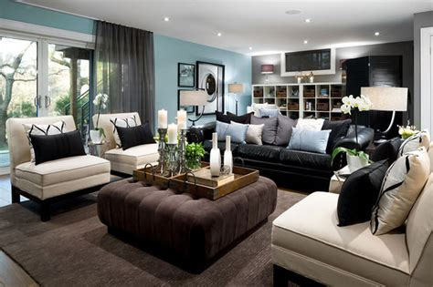Jane Lockhart Blue Basement Living room   Modern   Living