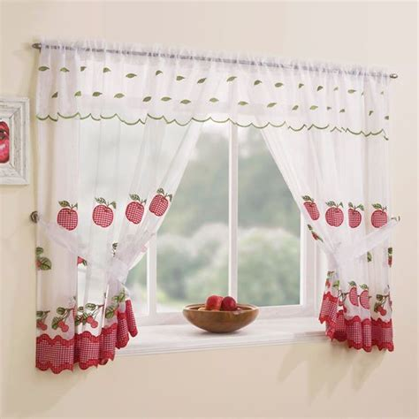 winchester GORGEOUS RED fruits WHITE voile kitchen WINDOW