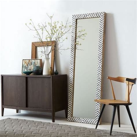 parsons floor mirror gray herringbone west elm